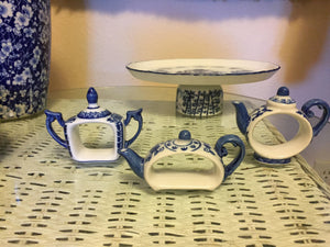 Handmade OOAK Blue and White Dessert Stand - Blue and White China Platter Stand - Pedestal Tray - Cupcake Stand - Japanese Tea Cup Platter