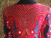 Load image into Gallery viewer, 80s Red Silk Beaded Felt Dress - Womens Small Medium - Art Deco Gatsby Dress - Antique Dress - Red and Blue Sequin Dress - Flapper Dre
