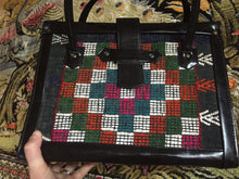 Load image into Gallery viewer, Checkered Folk Textile Handbag - Zipper - Guatemalan Textile - Vegan Leather Textile Purse - Laptop Bag - Tablet Tote - Vintage Briefcase
