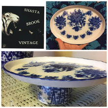 Load image into Gallery viewer, Handmade OOAK Blue and White Dessert Stand - Blue and White China Platter Stand - Pedestal Tray - Cupcake Stand - Japanese Tea Cup Platter