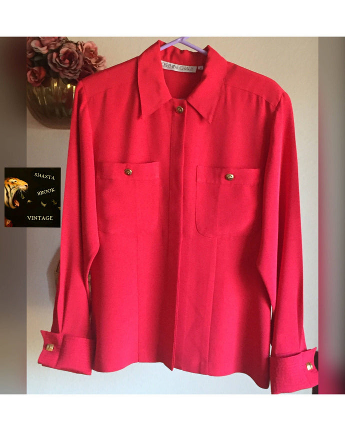 80s WRINKLE RESISTANT Red Oxford Blouse - Womens 12 Large XL - Long Sleeve Silky Blouse - Buttondown - Breast Pockets - Lion Head Buttons