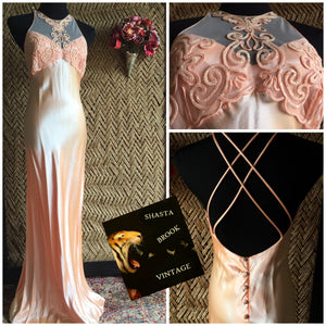 90s Silky Peach Pastel Prom Dress - Womens Medium - Halter Neckline Prom Dress - Strappy X Back - 90s Winter Formal Dress - Roberta Gown