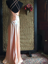 Load image into Gallery viewer, 90s Silky Peach Pastel Prom Dress - Womens Medium - Halter Neckline Prom Dress - Strappy X Back - 90s Winter Formal Dress - Roberta Gown