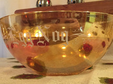 Load image into Gallery viewer, EGG NOG Depression Glass Bowl - Jeanette Glass Floragold Moderne - Northwood Marigold - Orange Carnival Glass - Christmas Serving Bowl