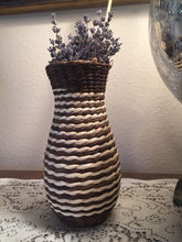 Load image into Gallery viewer, Boho Seagrass Wrapped Glass Vase - Beargrass Vase - Spiral Straw Vase - Wrapped Glass Vase - Brown and White Seagrass Vase - Bohemian Decor