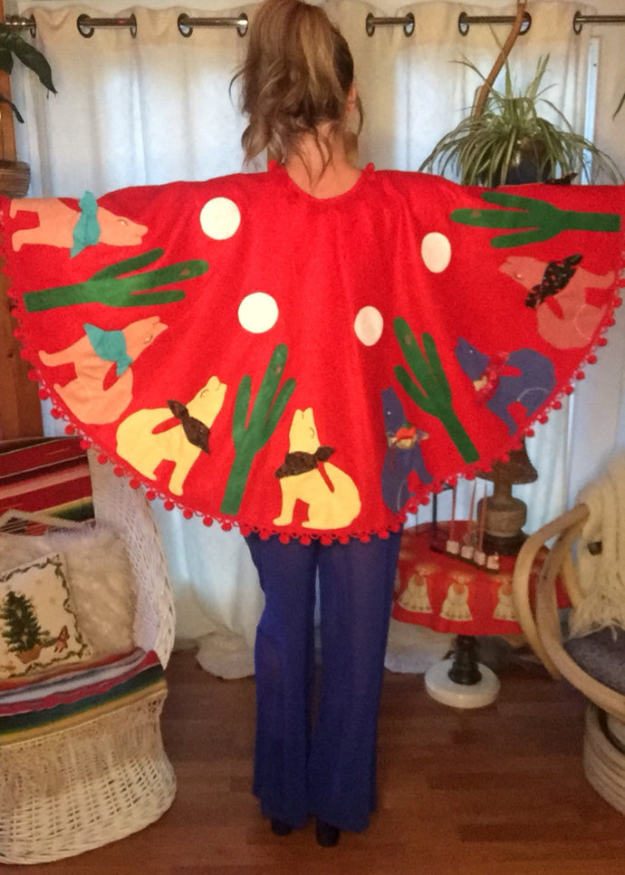 Howling Wolves Red Wool Tree Skirt - Pom Pom Christmas Cape - Kitschy Handmade - Santa Fe - Christmas Sweater Cape - Googly Eyes - Applique