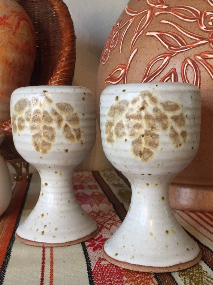 Stoneware Pottery Goblet S&P Shakers with Pinecone Clusters - Salt and Pepper Shakers - Handmade Wheel Thrown - Corked - 70s Boho Kitchen