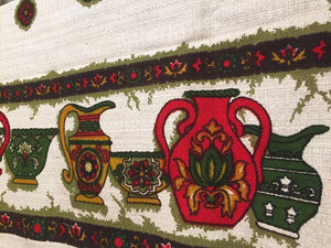 Folk Christmas Table Linen - Cotton Linen Tablecloth - Rectangular Tablecloth - Red Green Yellow - Vases - Christmas Holiday Party