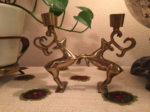 Dueling Reindeer Brass Candelabra - Boho Christmas - Candlestick Holder - Winter Wonderland - Stag Stags Buck Deer - Game of Thrones Decor