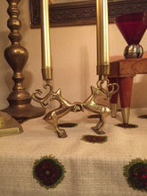 Load image into Gallery viewer, Dueling Reindeer Brass Candelabra - Boho Christmas - Candlestick Holder - Winter Wonderland - Stag Stags Buck Deer - Game of Thrones Decor