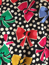 Load image into Gallery viewer, 80s Bows 'N' Polkadots Silk Blouse - Womens Modern 8 US Medium - Albert Nipon Blouse - Festive Kitschy Christmas Blouse - Puffy Shoulders