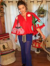 Load image into Gallery viewer, Howling Wolves Red Wool Tree Skirt - Pom Pom Christmas Cape - Kitschy Handmade - Santa Fe - Christmas Sweater Cape - Googly Eyes - Applique