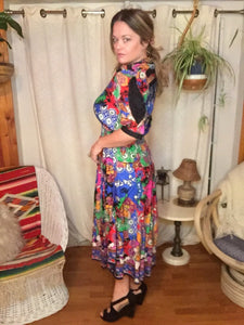 80s Colorful Silk DIANE FREIS Dress - Fits Women M L XL Plus Size - Patchwork - Elastic Waist - Puffy Slit Sleeves - Pleated Skirt w Sashes