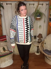 Load image into Gallery viewer, Vintage Hipster Crew Neck Sweater - Unisex L XL - Tribal Geometric Sweater - Baggy Oversized - White Black Red Blue Green - 80s 90s Sweater
