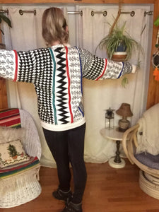 Vintage Hipster Crew Neck Sweater - Unisex L XL - Tribal Geometric Sweater - Baggy Oversized - White Black Red Blue Green - 80s 90s Sweater