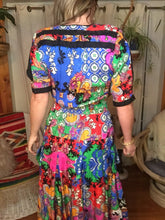 Load image into Gallery viewer, 80s Colorful Silk DIANE FREIS Dress - Fits Women M L XL Plus Size - Patchwork - Elastic Waist - Puffy Slit Sleeves - Pleated Skirt w Sashes