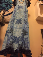 Load image into Gallery viewer, 70s Long Blue Hawaiian Tiki Dress - Hibiscus - 70s Surfer Girl Dress - Long Hawaiian Dress - Hippie Boho Dress - 50s 60s Hawaiian Dress -