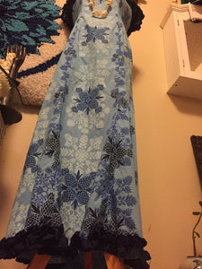 70s Long Blue Hawaiian Tiki Dress - Hibiscus - 70s Surfer Girl Dress - Long Hawaiian Dress - Hippie Boho Dress - 50s 60s Hawaiian Dress -