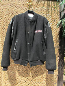 90s BLAZERS Black Wool Snap Front Bomber Jacket - Mens Large - Hipster Urban Street Style - Snap Button Bomber Jacket - 90s Sports Bomber