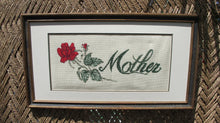 Load image into Gallery viewer, Vintage Mothers Day Gift - Vintage Framed Needlepoint - 40s Embroidery - Mother and Red Rose - Rectangular Frame - Mothers Day Cross Stitch