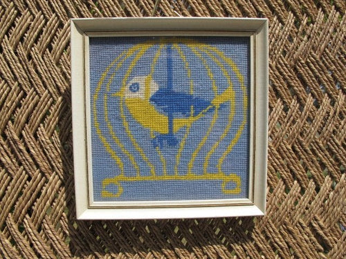 60s Square Framed Cross Stitch Bird in Cage - Boho Nursery Decor - Vintage Square Frame - Yarn Art - Yarn Cross Stitch - Blue Yellow White