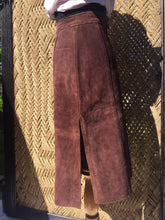 Load image into Gallery viewer, 60s 70s Argentinian Soft Suede Brown Leather Skirt - Womens XS Small 2 4 - High Side Slits - Zipper Snap Fly - Hippie Boho Western