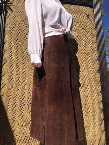 60s 70s Argentinian Soft Suede Brown Leather Skirt - Womens XS Small 2 4 - High Side Slits - Zipper Snap Fly - Hippie Boho Western