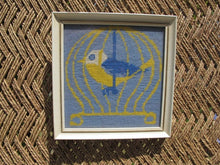 Load image into Gallery viewer, 60s Square Framed Cross Stitch Bird in Cage - Boho Nursery Decor - Vintage Square Frame - Yarn Art - Yarn Cross Stitch - Blue Yellow White