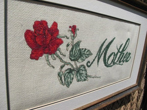 Vintage Mothers Day Gift - Vintage Framed Needlepoint - 40s Embroidery - Mother and Red Rose - Rectangular Frame - Mothers Day Cross Stitch