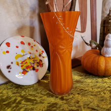 Load image into Gallery viewer, Orange Frosted Glass Vase - Faceted Glass Vase - Orangesicle - Tulip Vase - White Interior - Clear Frosted Facet Cut Glass Outer Layer