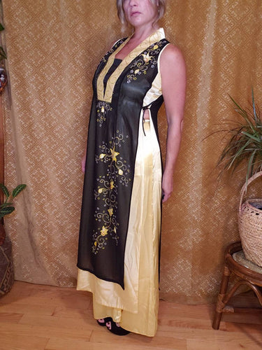 Sleeveless Yellow and Black Cheongsam Dress with Pants - Womens Large - Qipao - Mandarin Gown with Silky Pants - Waist High Slits - Glitter
