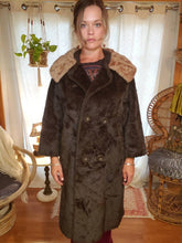 Load image into Gallery viewer, 1940s Faux Fur Coat - ILGWU - Pockets - Shawl Collar - Womens Medium Small