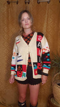 Load image into Gallery viewer, RARE Hand Knit SAIL AWAY Cardigan by Berek Marta D - Sailing Sweater - Sailboat Sweater - Kitschy 80s Sweater - Granny Sweater - Chunky Knit