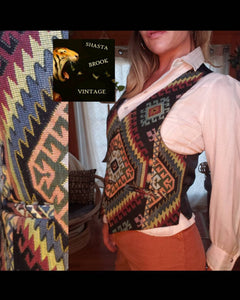 90s Ikat Womens Vest with Silky Back - 90s Adjustable Back Vest - Womens 90s Buttondown Vest - Vintage Ikat Fabric Clothing - Tapestry Vest