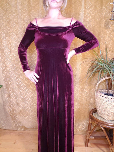 Showstopper Off Shoulder Maroon Velvet Dress - Womens Medium - Long Velvet Dress - Sexy Witch Costume - Homecoming Dress - 90s Revival