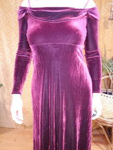 Load image into Gallery viewer, Showstopper Off Shoulder Maroon Velvet Dress - Womens Medium - Long Velvet Dress - Sexy Witch Costume - Homecoming Dress - 90s Revival