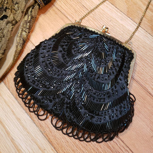 Black Beaded LA REGALE Evening Bag - Flapper Art Deco Style Purse - Evening Purse - Gold Tone Chain Strap - Kissing Lock Bag - Beaded Fringe
