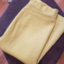 Load image into Gallery viewer, 60s Canary Yellow Tweed Pencil Skirt - Womens Small XS - Vintage Tweed Skirt - Small 60s Pencil Skirt - Secretary Skirt - Mad Men Skirt