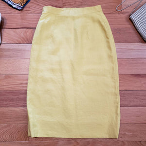 60s Canary Yellow Tweed Pencil Skirt - Womens Small XS - Vintage Tweed Skirt - Small 60s Pencil Skirt - Secretary Skirt - Mad Men Skirt