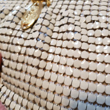 Load image into Gallery viewer, VTG 70s White Mesh Metal Purse - Whiting and Davis Style Mesh Bag - 60s 70s Mesh Evening Purse - Shoulder Bag - Snake Chain - F Monogram