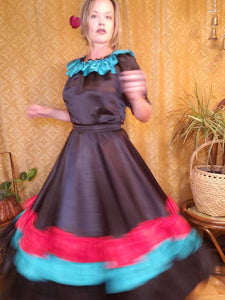 Vintage Handmade Mexican Fiesta Dress - Top with Skirt - Halloween Costume - Can Can Dancer - Saloon Girl - Gypsy Costume - Day of the Dead