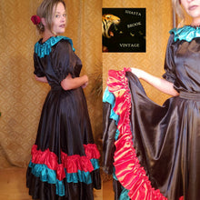 Load image into Gallery viewer, Vintage Handmade Mexican Fiesta Dress - Top with Skirt - Halloween Costume - Can Can Dancer - Saloon Girl - Gypsy Costume - Day of the Dead