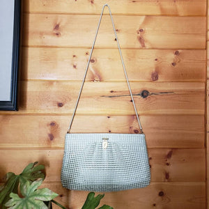 VTG 70s White Mesh Metal Purse - Whiting and Davis Style Mesh Bag - 60s 70s Mesh Evening Purse - Shoulder Bag - Snake Chain - F Monogram