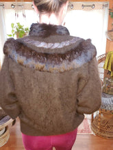 Load image into Gallery viewer, SOFT Vintage Angora Rabbit Fur Sweater - Rabbit Fur Buttondown - Womens Medium Large - Chocolate Brown Rabbit Fur - 80s Rabbit Fur Sweater