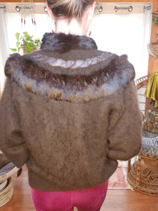 SOFT Vintage Angora Rabbit Fur Sweater - Rabbit Fur Buttondown - Womens Medium Large - Chocolate Brown Rabbit Fur - 80s Rabbit Fur Sweater