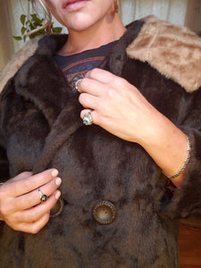 1940s Faux Fur Coat - ILGWU - Pockets - Shawl Collar - Womens Medium Small