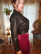 Load image into Gallery viewer, 80s WILSONS Cropped Fitted Black Leather Jacket - Womens Medium