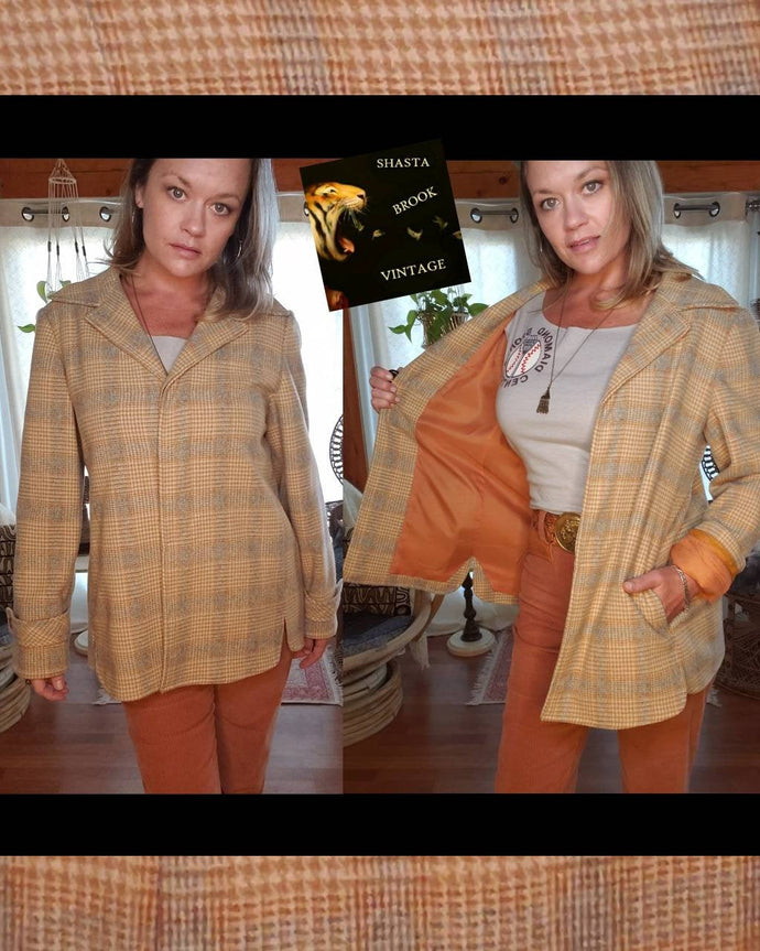 1950s Womens Wool Plaid Jacket - The Clothes Horse Portland Palm Springs - Womens Medium Large