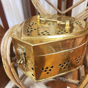 Antique Heart Shaped Brass Cricket Box - Gold Tone Stash Box - Made in India - Antique Jewelry Box - Vintage Lock Box - Treasure Chest Lock