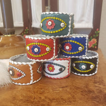 Load image into Gallery viewer, Set of 6 Boho Leather Napkin Rings with Heart and Third Eye Detail - Valentines Gift - Evil Eye - Boho Decor - Boho Wedding Table Settings